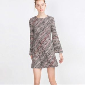 Zara 60s Inspired Tweed Dress with Bell Sleeves